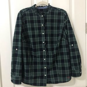 Talbots Long Sleeve Button Down Top Frilly Collar